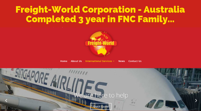 Freight-World Corporation Pty. Ltd completed 3 years with FNC Group…
